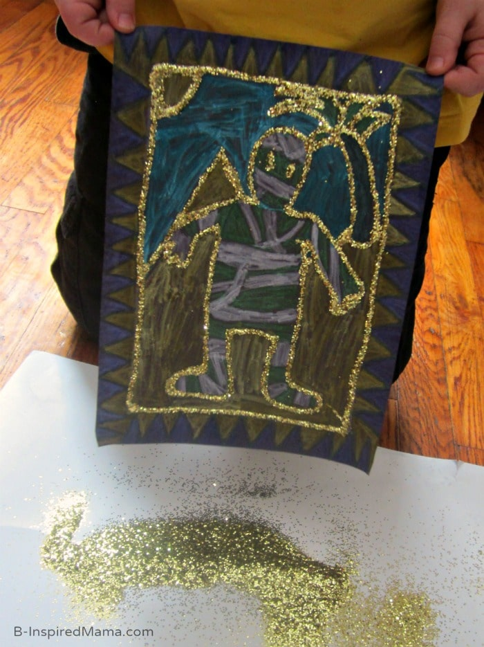 Glittery Golden Egyptian Inspired Kids Art Project (#Sponsored by #SwifferatTarget) at B-Inspired Mama