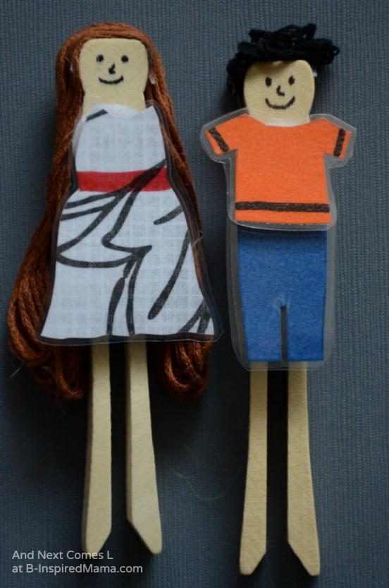 Easy DIY Toys - Dress Up Peg Dolls at B-Inspired Mama