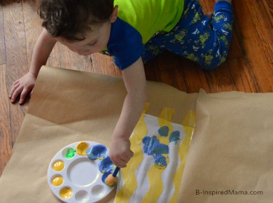 A Kid Painted Chevron Tea Towel Mother's Day Craft at B-Inspired Mama