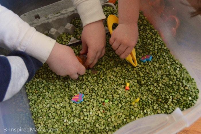 Fine Motor Fun and Sensory Play with a Peas and Carrots Sensory Bin at B-Inspired Mama