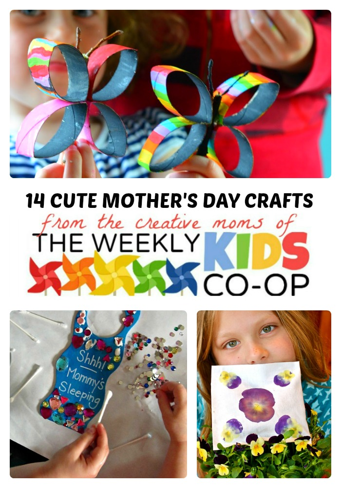 14 Cute Mother's Day Crafts + The Weekly Kids Co-Op Link Party at B-Inspired Mama