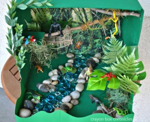 Rainforest Small World Play Set - DIY Toys from Crayon Box Chronicles at B-Inspired Mama