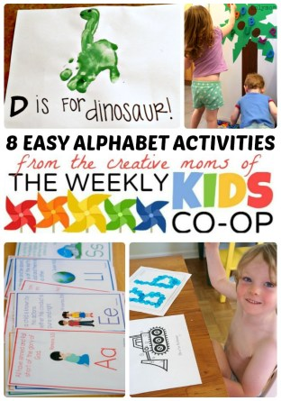 8 Easy Alphabet Activities for School Readiness + The Weekly Kids Co-Op Link Party at B-Inspired Mama