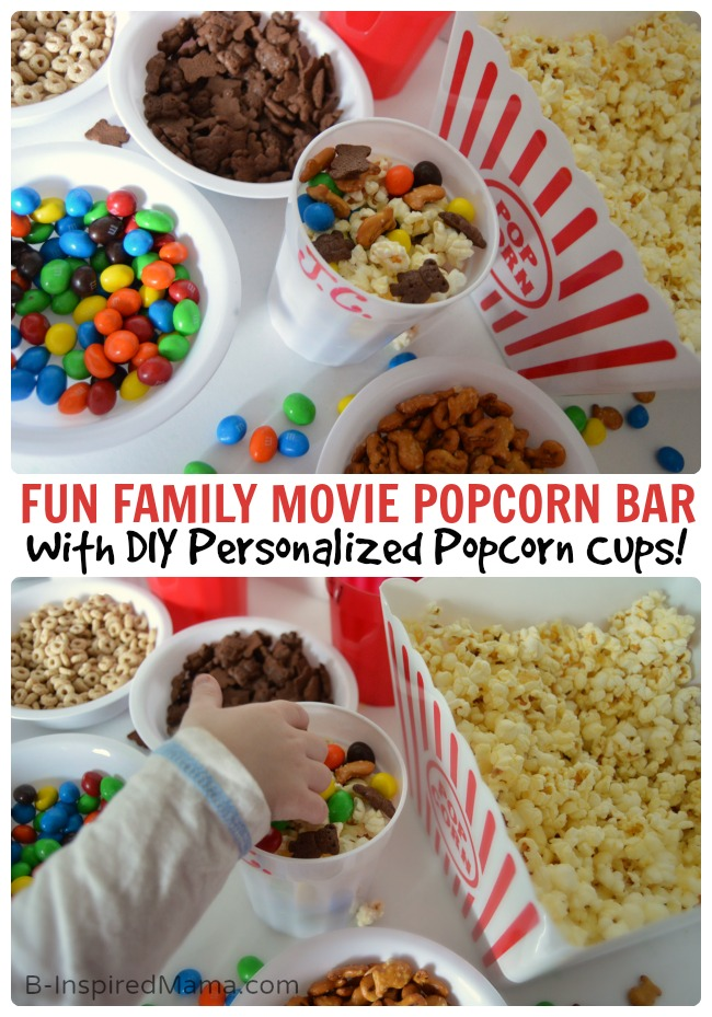 Family Movie Night Popcorn Bar + Personalized Popcorn Cups