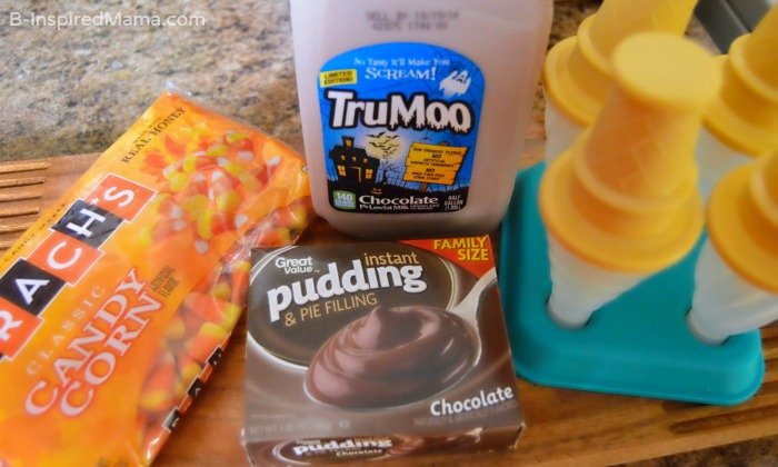 Ingredients for Our Double Chocolate Candy Corn Pudding Pops Recipe - [#Sponsored #TruMooTreats] at B-Inspired Mama