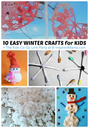 10 Easy Winter Crafts for Kids + The Kids Co-Op Link Party at B-Inspired Mama