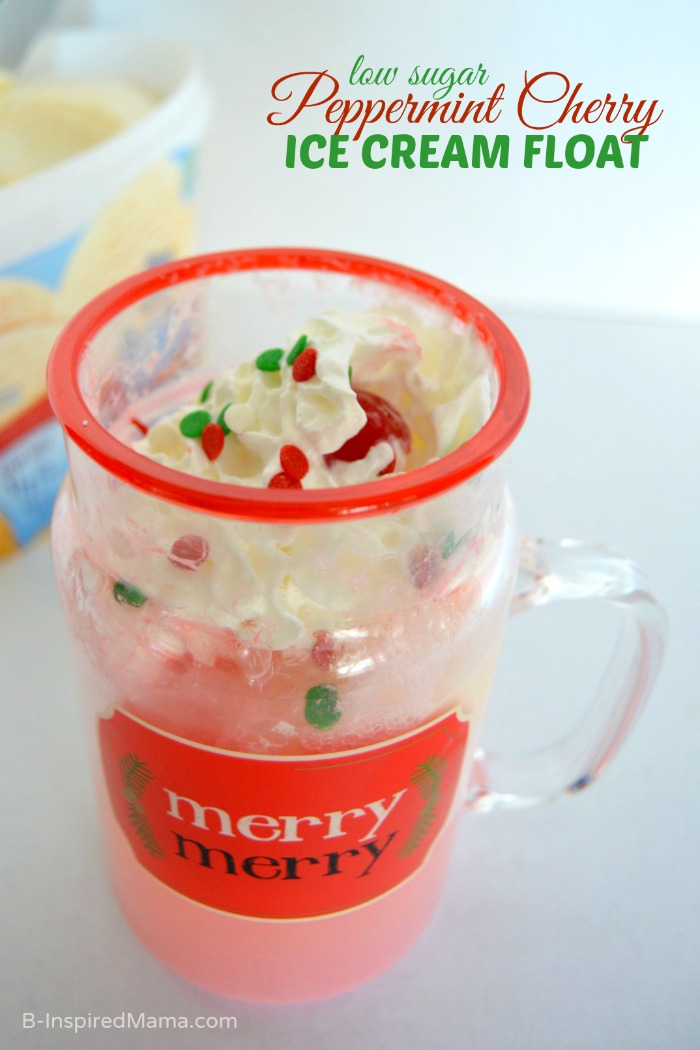Low Sugar Peppermint Cherry Ice Cream Float