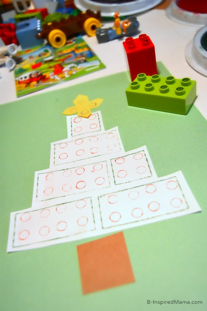 An Easy Christmas Tree Kids Christmas Craft [Sponsored by LEGO] at B-Inspired Mama