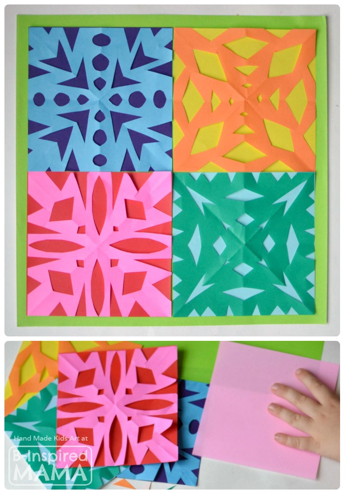 A Kids Art Quilt Full Of Paper Snowflakes B Inspired Mama