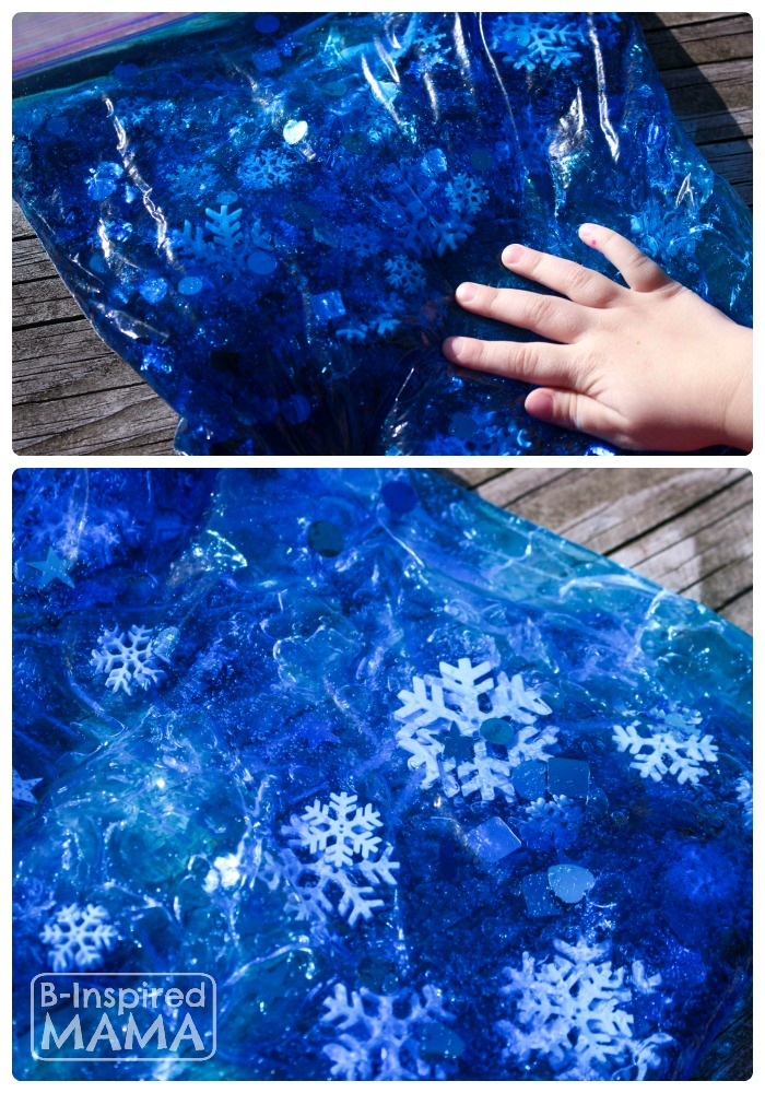 A Snowflake Sensory Bag for No-Mess Sensory Play at B-Inspired Mama