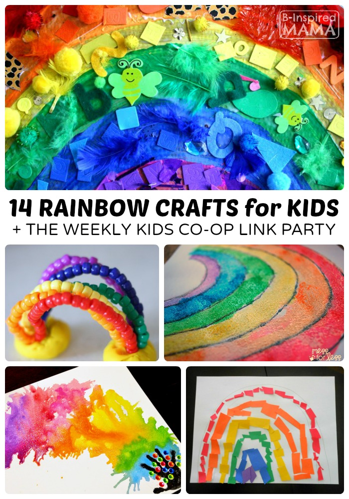 14 Colorful Rainbow Crafts for Kids + The Kids Co-Op Link Party at B-Inspired Mama