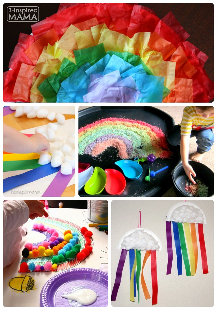 14 Fun and Colorful Rainbow Crafts for Kids + The Kids Co-Op Link Party at B-Inspired Mama