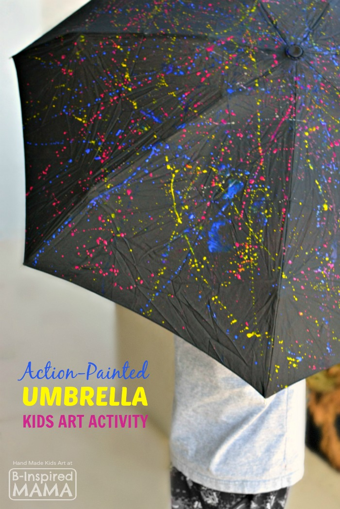 Action-Painted Umbrella Kids Art Activity - Perfect for Spring - at B-Inspired Mama