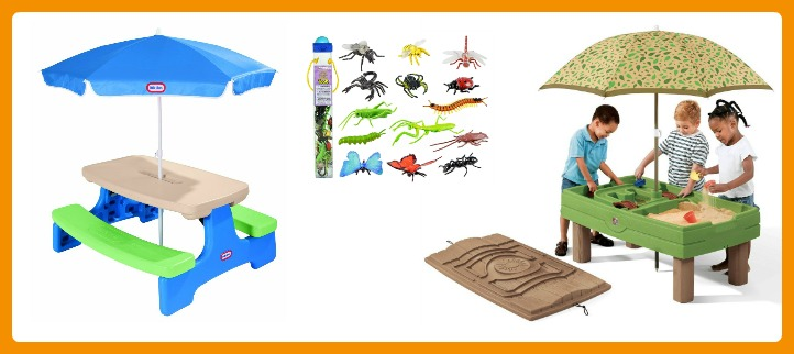 24 Fun Finds for Kids Outdoor Play - Sand Table and Picnic Table - at B-Inspired Mama