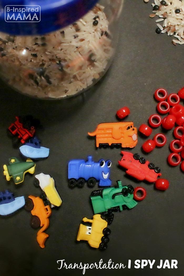 A DIY Transportation I Spy Jar for Preschoolers at B-Inspired Mama