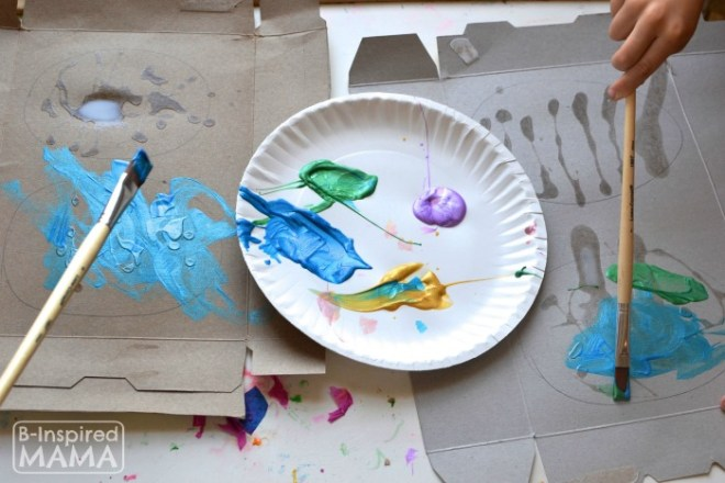 Painting our Recycled Art Easter Eggs at B-Inspired Mama
