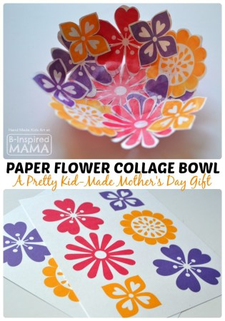 Colorful Paper Flower Bowl Mother's Day Craft at B-Inspired Mama