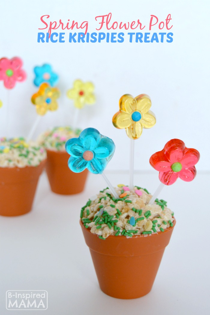 Spring Flower Pot Rice Krispies Treats at B-Inspired Mama