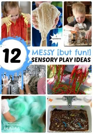 12 Messy - But Fun - Sensory Play Ideas at B-Inspired Mama