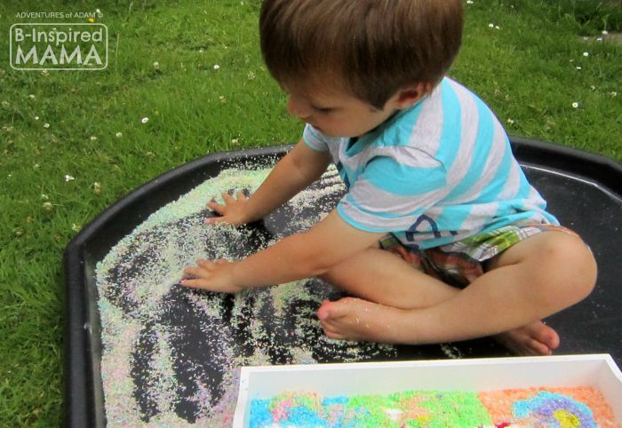 Edible Kandinsky-Inspired Sensory Bin - Sensory Play and Making Circles - B-Inspired Mama