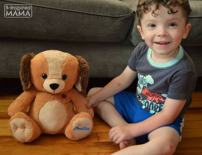 Keeping Your Blended Family Close - Even While Apart - J.C. with his New CloudPet - B-Inspired Mama