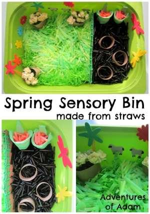 Spring Sensory Bin with Straws
