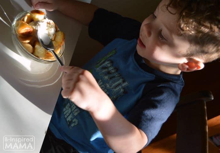 J.C. enjoying his Ice Cream Banana Pudding - B-Inspired Mama