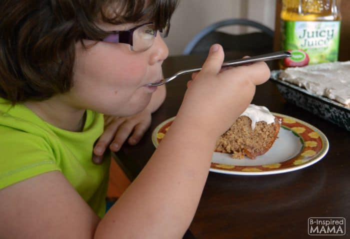 Kid-Friendly Apple Spice Cake Recipe - Priscilla Enjoying Her Cake - B-Inspired Mama