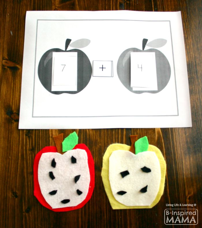 Simple Addition - A Felt Apple Math Activity + Free Math Printable at B-Inspired Mama