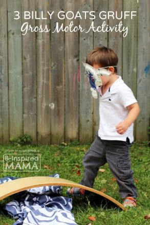 Billy Goats Gruff Gross Motor Activity for Kids at B-Inspired Mama
