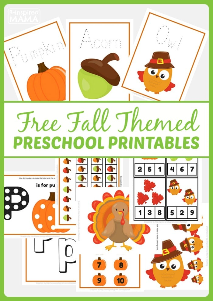 Free Fall Themed Preschool Printables at B-Inspired Mama