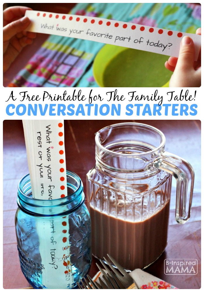 Free Printable Conversation Starters for Kids - Perfect for the Family Table - at B-Inspired Mama