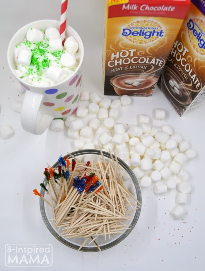 An Invitation to Make Marshmallow Sculptures while the Kids Enjoy their Hot Chocolate - at B-Inspired Mama