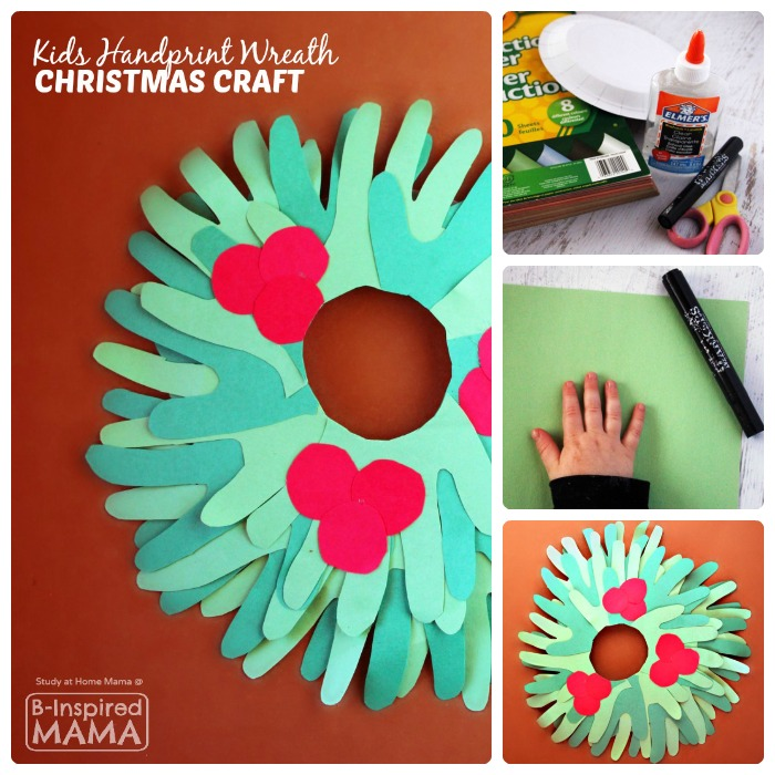 Cute Kids Handprint Wreath Christmas Craft