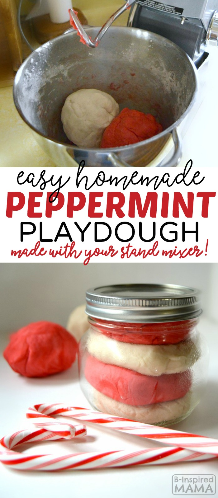 Using your stand mixer makes this homemade playdough recipe super easy! Plus use food coloring a peppermint extract to make it festive for Christmas, too!