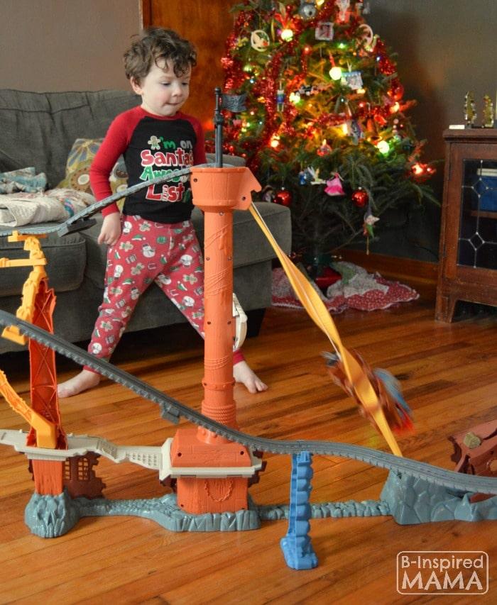 JC Loving his New Thomas Trackmaster Set + A Printable Train Ticket Holiday Gift Tag at B-Inspired Mama