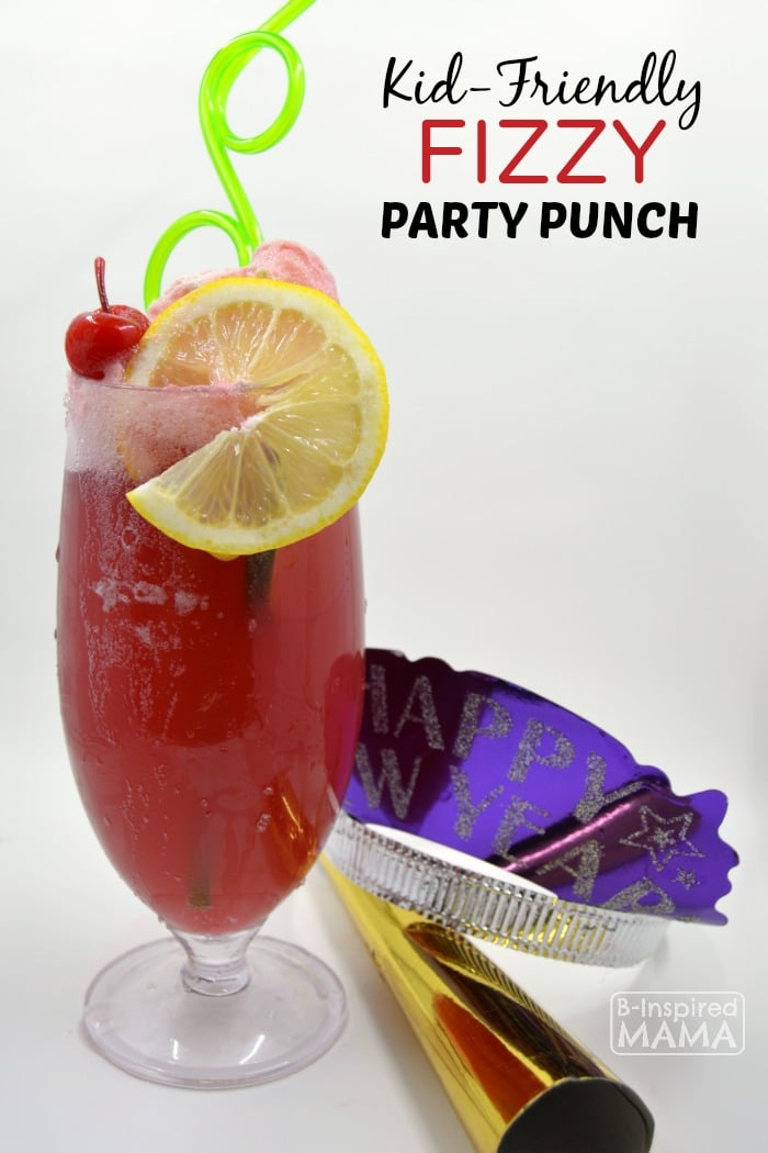 Kid-Friendly Fizzy Party Punch Recipe - Perfect for New Years Eve for Kids + More New Years Ideas for Kids - at B-Inspired Mama