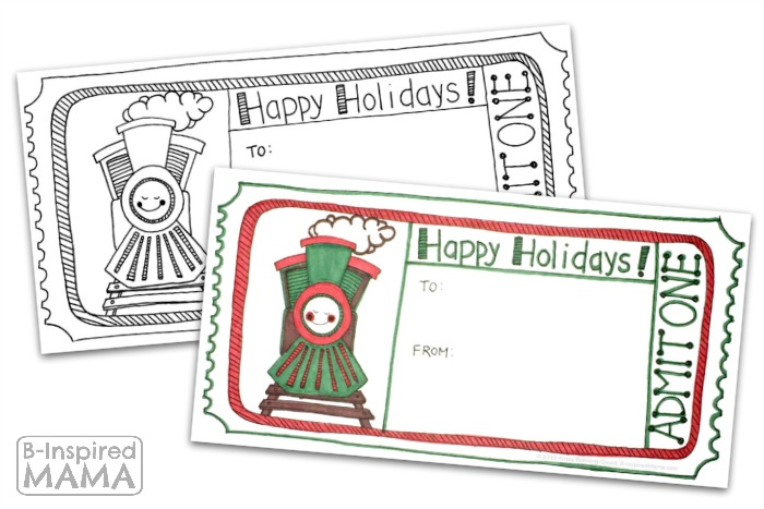 Printable Train Ticket Holiday Gift Tags - Perfect for a Train Themed Gift at B-Inspired Mama