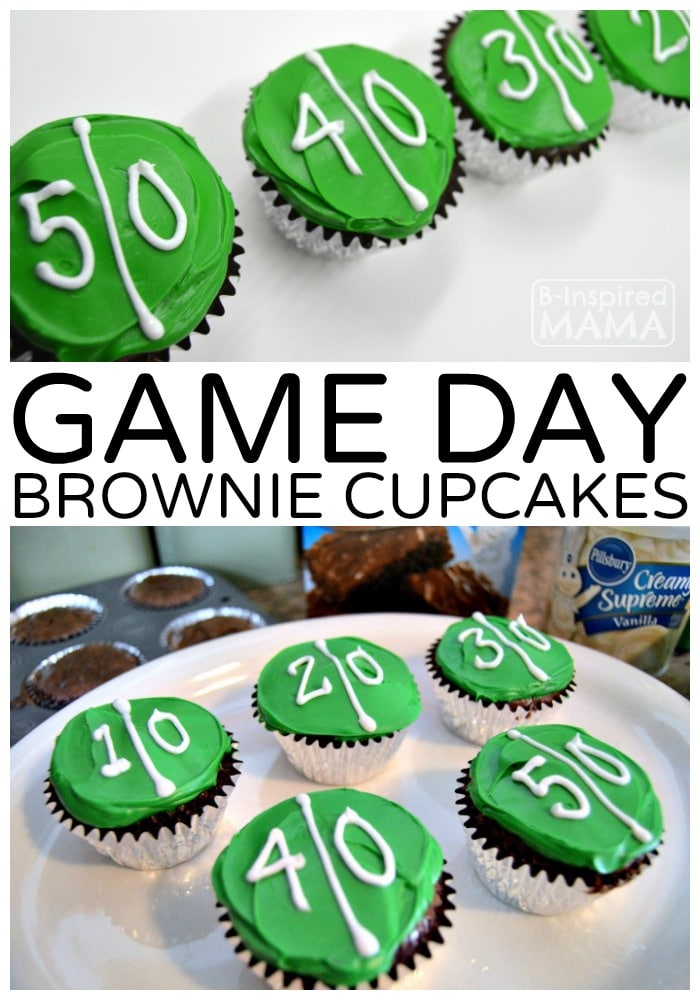 A New Game Day Tradition with Football Brownie Cupcakes