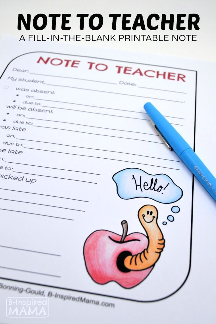 A Free Printable Fill-In-The-Blank Note to Teacher
