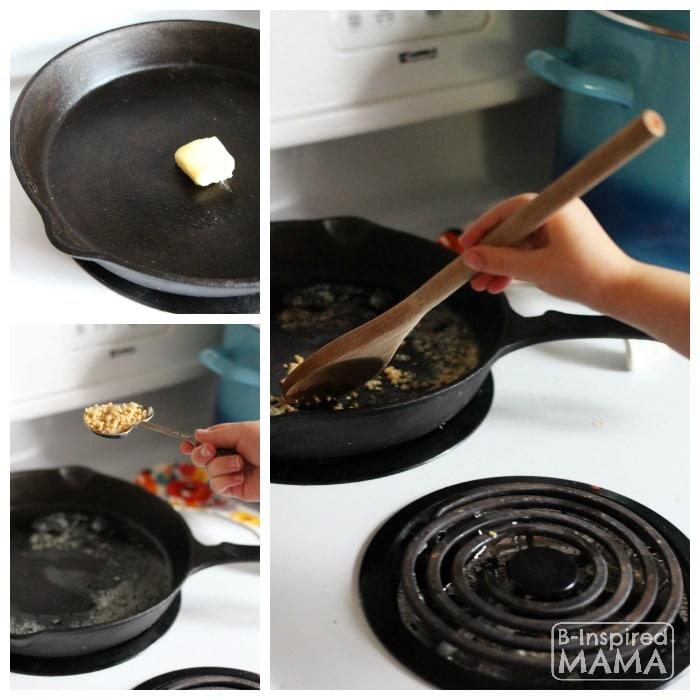 Skillet Tomato Rosemary Chicken Recipe - Browning the Garlic - at B-Inspired Mama