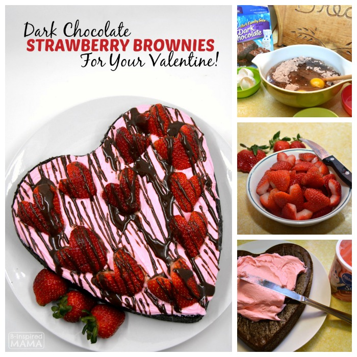 Easy Dark Chocolate Strawberry Brownies for Your Valentine