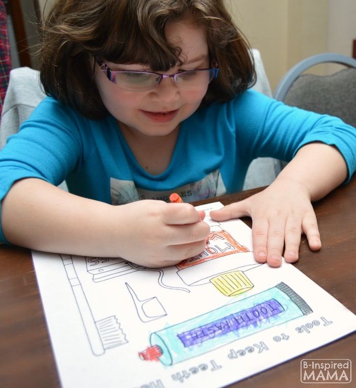 Priscilla Coloring her Dental Coloring Pages - at B-Inspired Mama