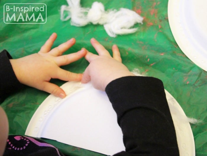 Rainbow Mobile Craft for Kids - Making the Cotton Cloud - at B-Inspired Mama