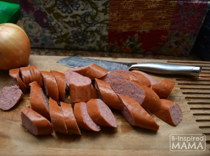 Anything Goes Sausage and Rice Skillet Meal - Prepping the Hillshire Farm Smoked Sausage - at B-Inspired Mama