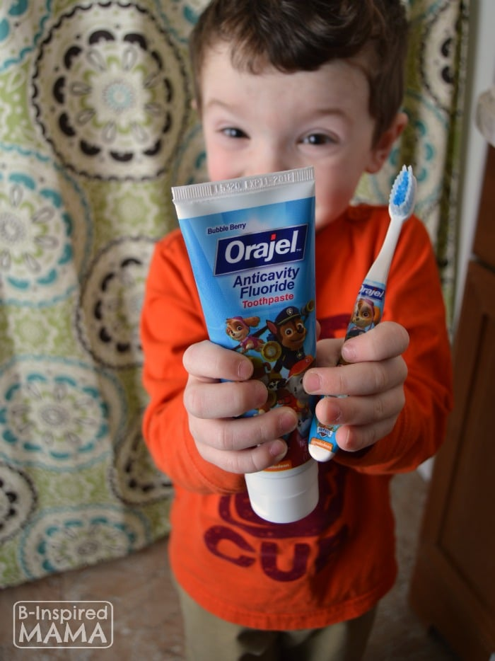 JC using his new Bedtime Routine Chart and Brushing his Teeth - at B-Inspired Mama