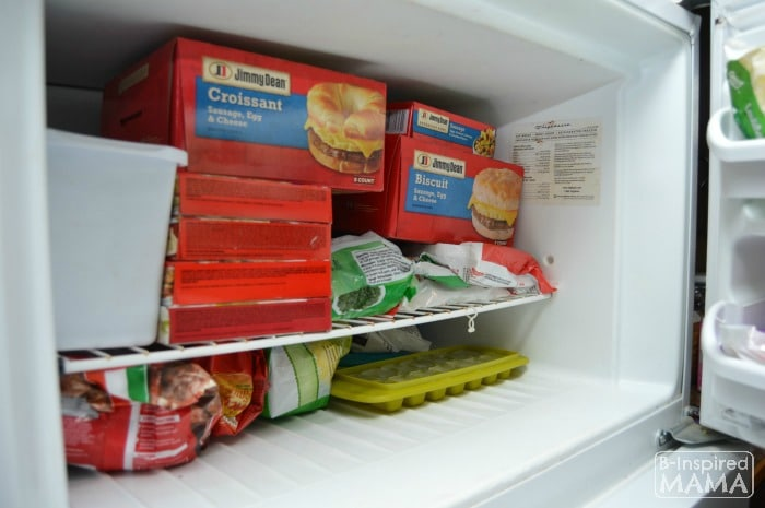 Simple School Morning Routine Tricks -Stocking the Freezer with Easy Breakfasts - at B-Inspired Mama