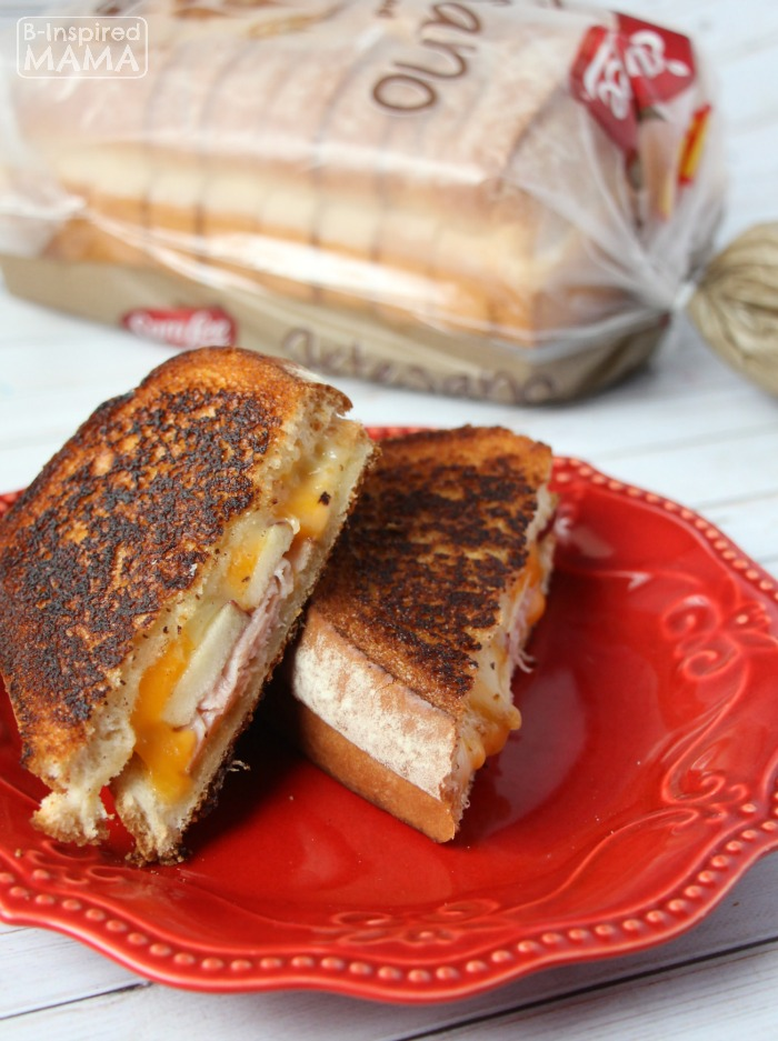 Apple and Ham Grilled Cheese Sandwich - A Fancy Grilled Cheese for Kids - at B-Inspired Mama