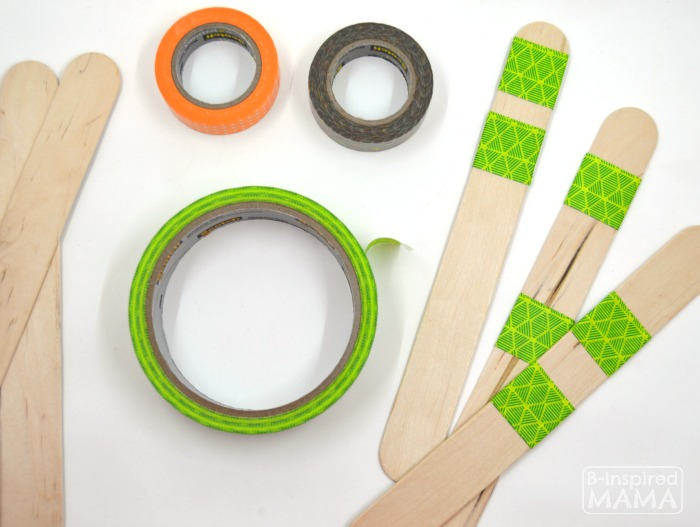 DIY Garden Markers - Easy Enough for Kids - Adding Striped of Colorful Patterned Washi Tape - at B-Inspired Mama