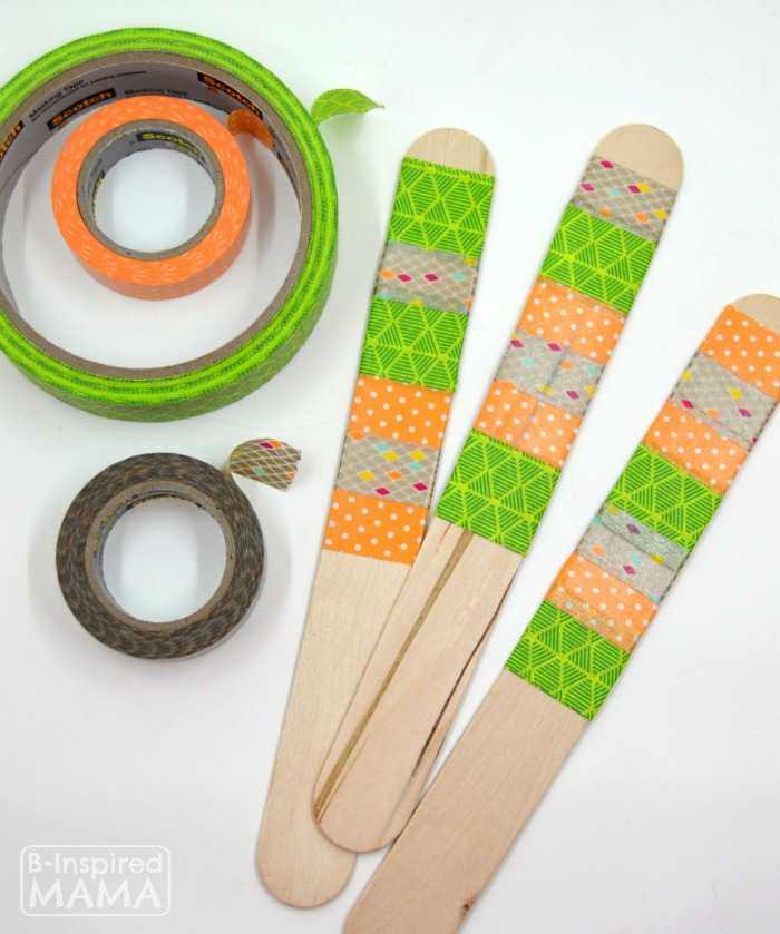 DIY Garden Markers - Easy Enough for Kids - Using Colorful Patterned Washi Tape - at B-Inspired Mama